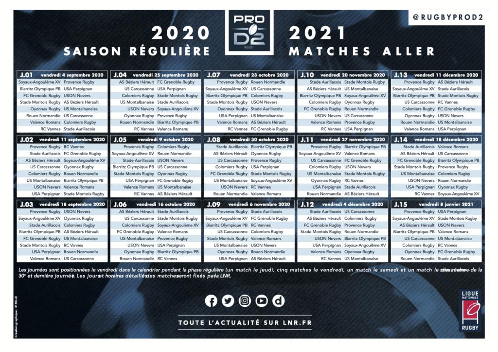 calendrier matches aller PRO D2