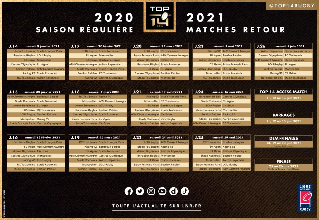 calendrier matches retour