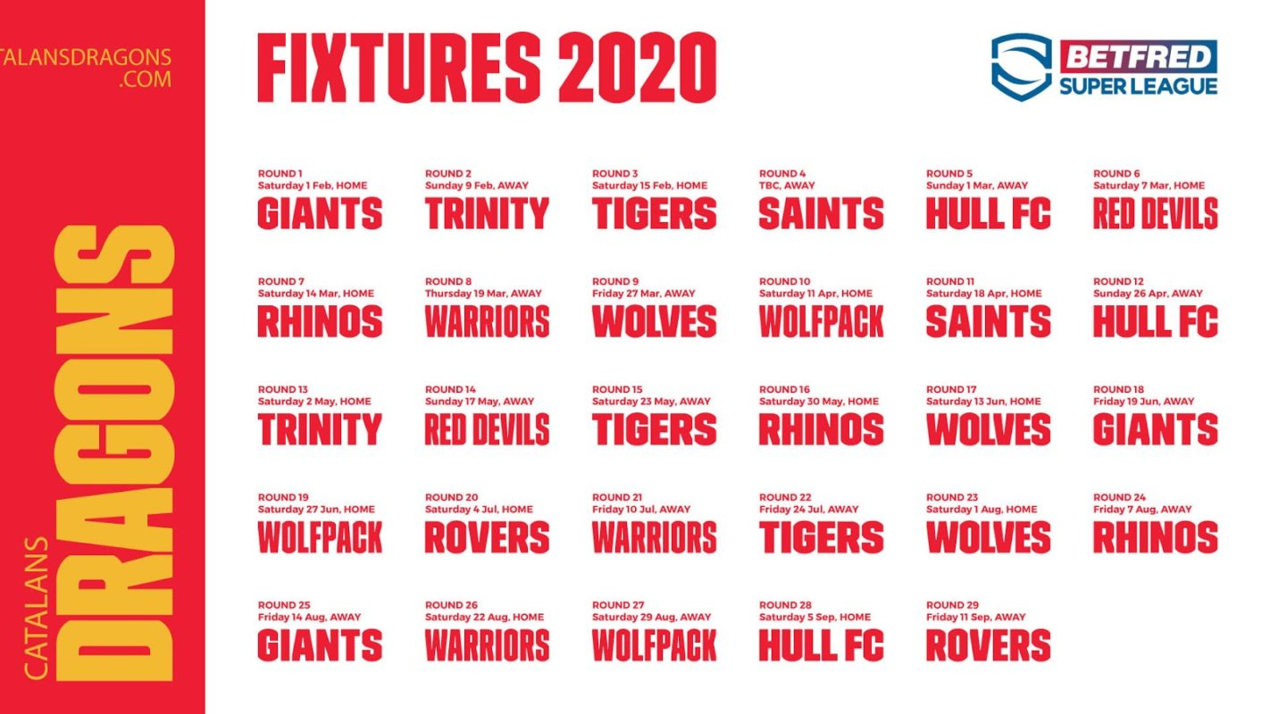 calendrier dragons catalans